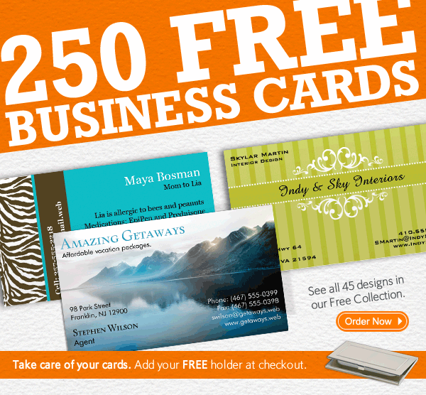 250 FREE Business Cards  Order Now