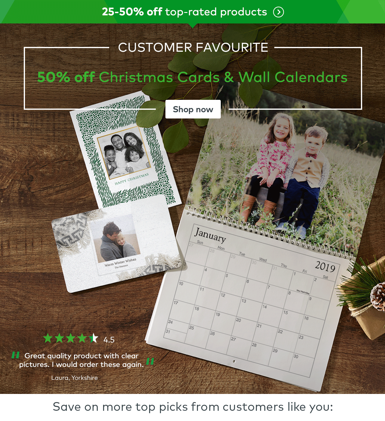 50% off Holiday Cards & Wall Calendars