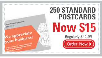 250 STANDARD POSTCARDS Now $15 Regularly $42.99 Order Now