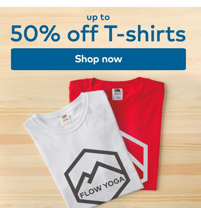 up to 50% off T-shirts. Shop now.